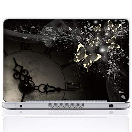Meffort Inc 17 17.3 Inch Laptop Notebook Skin Sticker Cover Art Decal (Included 2 Wrist Pad) - Gary Black Butterfly Design