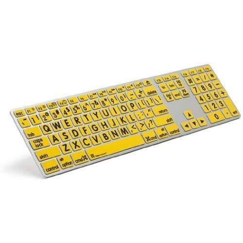Logickeyboard Largeprint Black On Yellow - Mac Advance Line Keyboard Compatible With Mac Os X V10 Or Later  - Part: Lkbu-Lprntby-Am89-Us