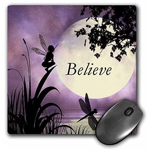 """3Drose Llc 8 X 8 X 0.25 Inches Mouse Pad,""""Believe"""" Fairy With Dragonflies With Moon And Purple Sky (Mp_35696_1)"""