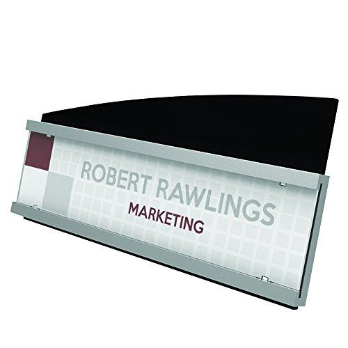 """Deflecto Interior Image Nameplate Sign Holder, Silver And Black, 8-1/2"""" X 2"""" (89105)"""