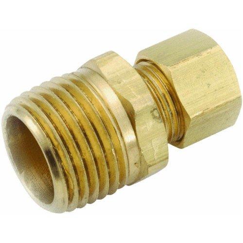 """Anderson Metals 750069-0404 1/4"""" X 1/4"""" Brass Male Compression Elbow"""