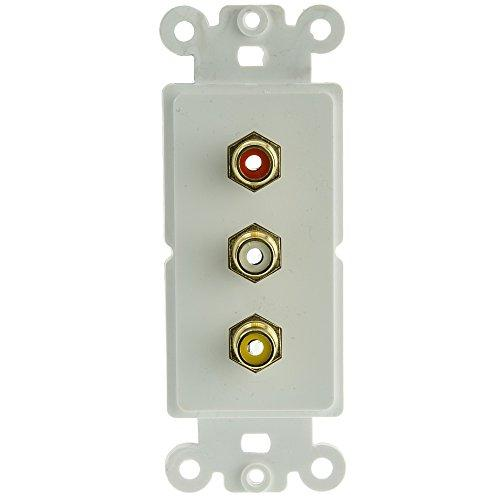 Decora Wall Plate Insert, White, 3 Rca Couplers (Red/White/Yellow), Rca Female