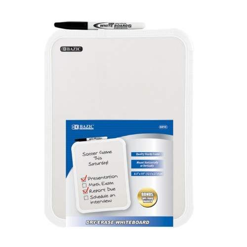 """Bazic Dry Erase Board W/ Marker. 8.5"""" X 11"""" Whiteboard And Marker For Kids And Adults"""