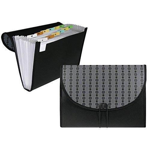 C-Line 13-Pocket Expanding File, Includes Tabs, Letter Size, 1 Expanding File, Fashion Circle Series, Black/Gray (56312)