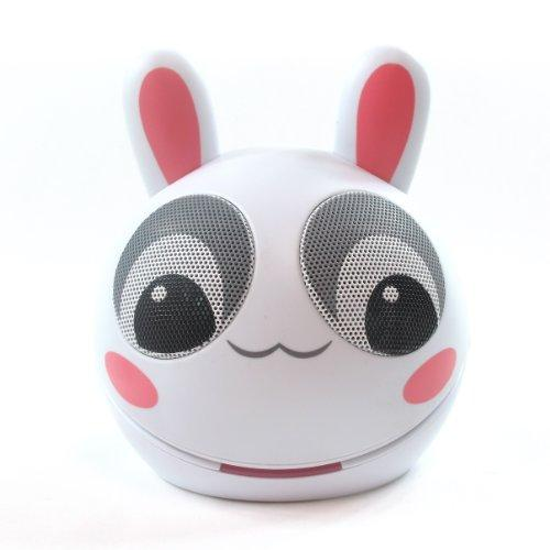Impecca Portable Mini Character Rabbit Speakers For Ipod Ipad Mp3 Players Laptops And Tablets (White/Pink)