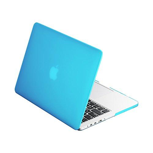"""Top Case - Classic Series Rubberized Hard Case Compatible Macbook Pro 13.3"""" (13"""" Diagonally) With Retina Display (Old Gen. 2012-2015) Model: A1425 And A1502 - Aqua Blue"""