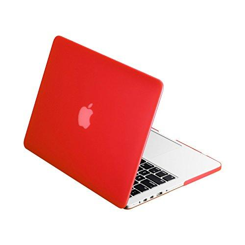 """Top Case - Classic Series Rubberized Hard Case Compatible Macbook Pro 13.3"""" (13"""" Diagonally) With Retina Display (Old Gen. 2012-2015) Model: A1425 And A1502 - Red"""