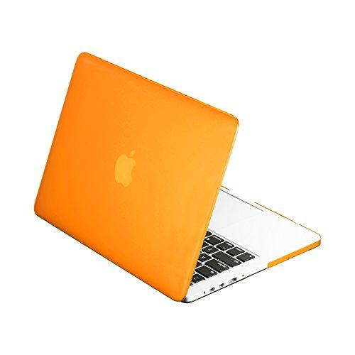 """Top Case -Rubberized Hard Case Compatible Macbook Pro 13.3"""" (13"""" Diagonally) With Retina Display (Old Gen. 2012-2015) Model: A1425 And A1502 - Orange"""