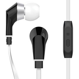 Naztech [Noisehush Technology] Nx80 Stereo 3.5Mm High Fidelity Sound Earphones. Tangle-Free Cable, In-Line Noise-Isolating Microphone & Control Button To Switch Between Music & Calls (White/Black) (Iidp Contribution)