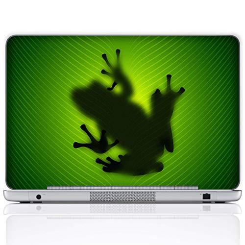 Meffort Inc 17 17.3 Inch Laptop Notebook Skin Sticker Cover Art Decal (Included 2 Wrist Pad) - Green Frog Design 2