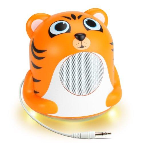 Gogroove Mini Cute Animal Battery Powered Portable Wired Speaker (Tiger) With Led Night Light Speaker For Kids - Passive Subwoofer, Built-In 3.5Mm Aux Cable - Plug Into Tablets, Phones, More