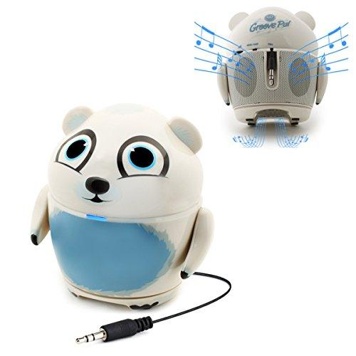 Cute Animal Rechargeable Portable Speaker With Passive Subwoofer (Groove Pal Polar Bear) Speaker For Kids By Gogroove - Stereo Drivers, Retractable 3.5Mm Aux Cable - Plug Into Tablets, Phones, More