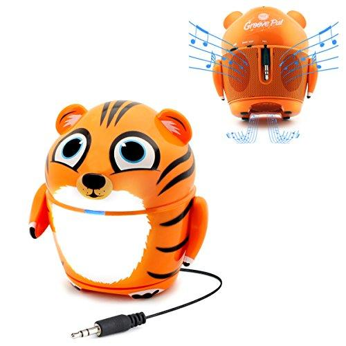 Cute Animal Rechargeable Portable Speaker With Passive Subwoofer (Groove Pal Tiger) Speaker For Kids By Gogroove - Stereo Drivers, Retractable 3.5Mm Aux Cable - Plug Into Tablets, Phones, More