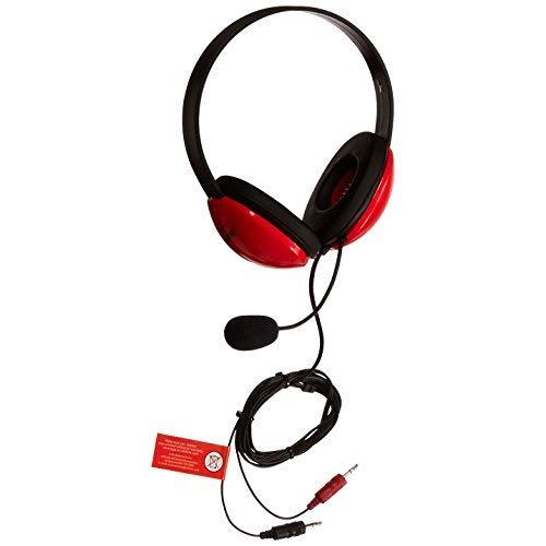 Califone 1465269 Listening First Headset With Dual Plugs For Use With Mac And Windows, 3.5 Mm, 40Mw, 10 Khz, 5-1/2' Cord, Red