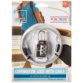 Tsa-Accepted Luggage Locks With Travelsentry: 3-Dial Combination Lock + 48In Coated Steel Cable, The Smartest Safety Lock On The Market - Grey