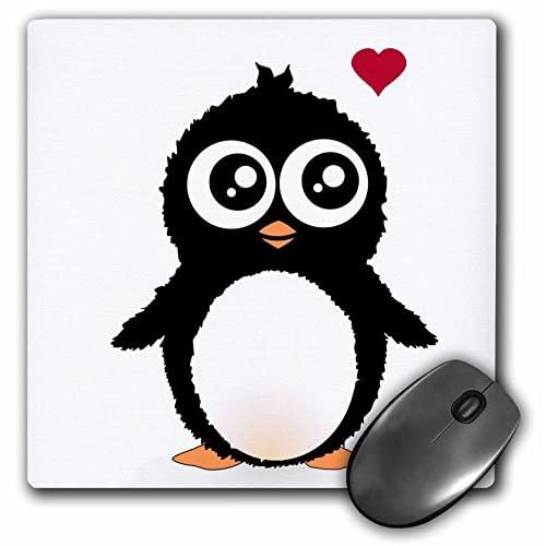 3Drose Llc 8 X 8 X 0.25 Inches Mouse Pad, Cute Penguin With Love Heart Black And White Cartoon Sweet Kawaii Adorable Baby Animal On White (Mp_113121_1)