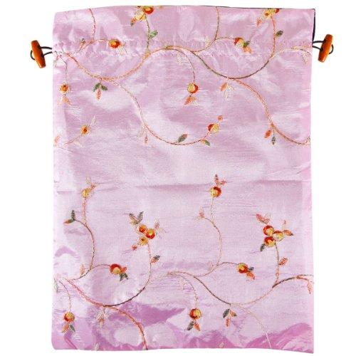 Wrapables Beautiful Embroidered Silk Travel Bag For Lingerie And Shoes, Pink