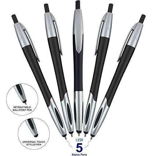 Stylus Pen,Capacitive Stylus &Amp; Ballpoint Click Pen With Comfort Grip For Universal Touchscreen Devices, Tablets,Ipad, Iphone 6,6 Plus, Ipod, Android,Samsung Galaxy (Black 5 Pack)
