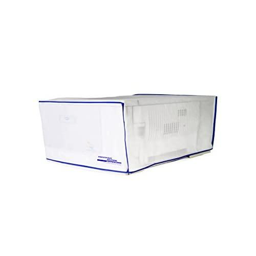 Computer Dust Solutions Printer Dust Cover, Covers Inkjet Or Laser Printers, Silky Smooth Antistatic Vinyl, Translucent Coconut Cream Color With Blue Trim, Several, (20W X8H X16D)