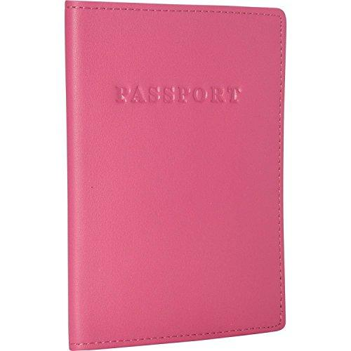 Royce Leather Passport Holder And Travel Document Organizer In Leather, Dark Pink 2