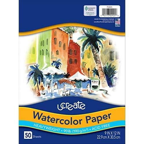 """Ucreate Watercolor Paper, White, Package, 90Lb., 9"""" X 12"""", 50 Sheets"""