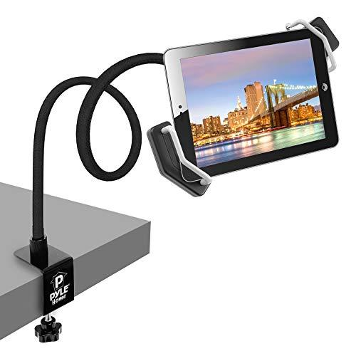 Pyle Tablet Holder Seat Bolt - Swivel Cradle, Table Clamp For All Ipads, Kindle, Androids, Ereaders, Nexus, Samsung Galaxy, Adjustable Gooseneck Arm, Led Lights, Usb Charging Port - Pspad15