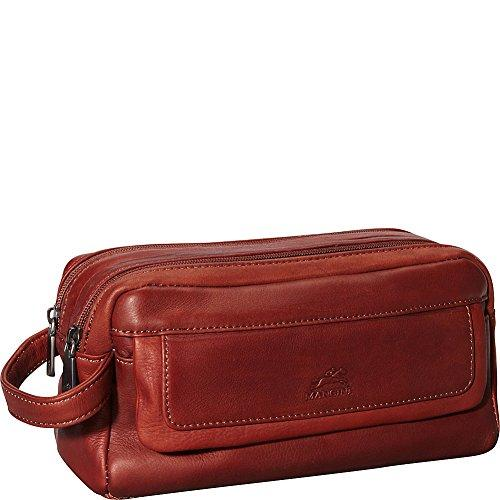 Mancini Leather Goods Colombian Leather Double Compartment Toiletry Kit (Cognac)