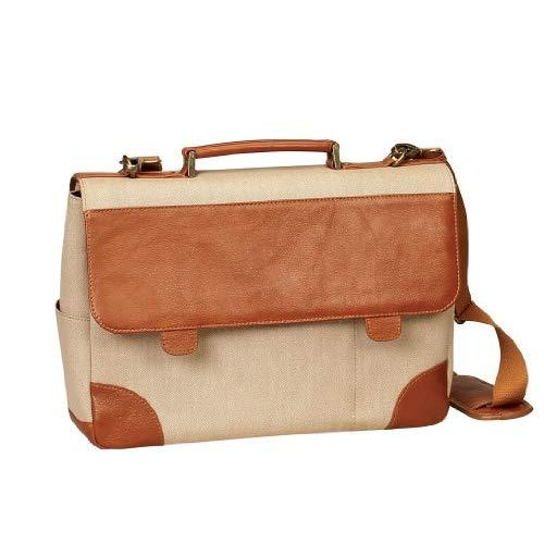 "Bellino P4724 Leather &Amp; Canvas 15"" Laptop Computer Briefcase Bag - Tan"