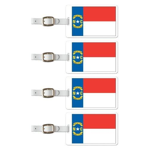 Tag Crazy North Carolina Premium Luggage Tags Set Of Four, Red, One Size