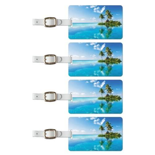 Tag Crazy Island Tropic Premium Luggage Tags Set Of Four, Blue, One Size