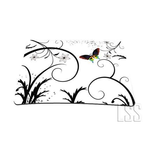 White Butterfly Escape Floral Colored 1 X Standard 7 X 9 Rectangle Non - Slip Rubber Mouse Pad