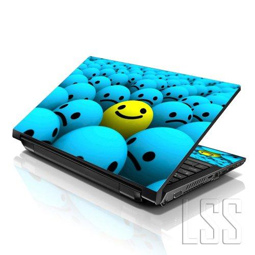 """Lss Laptop 15 15.6 Skin Cover With Colorful Happy Face Pattern For Hp Dell Lenovo Apple Asus Acer Compaq - Fits 13.3"""" 14"""" 15.6"""" 16"""" (2 Wrist Pads Free)"""