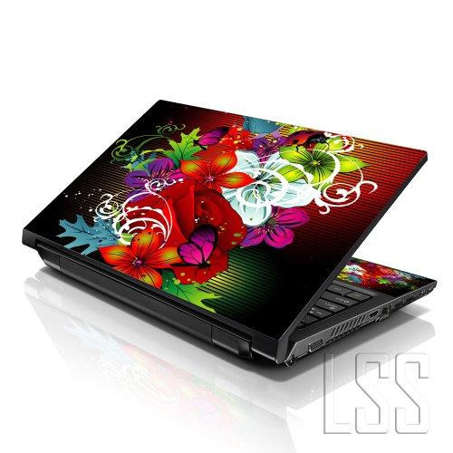 """Lss Laptop 15 15.6 Skin Cover With Colorful Colorful Floral Pattern For Hp Dell Lenovo Apple Asus Acer Compaq - Fits 13.3"""" 14"""" 15.6"""" 16"""" (2 Wrist Pads Free)"""