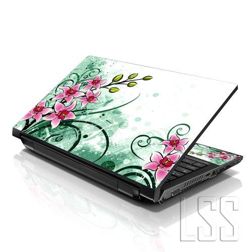 """Lss Laptop 17-17.3"""" Skin Cover With Colorful Pink Flower Floral Pattern For Hp Dell Lenovo Apple Asus Acer Compaq - Fits 16.5"""" 17"""" 17.3"""" 18.4"""" 19"""" (2 Wrist Pads Free)"""