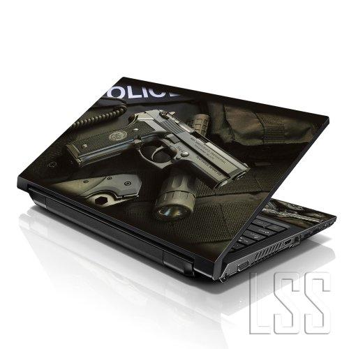 """Lss Laptop 17-17.3"""" Skin Cover With Colorful Police Gun Pattern For Hp Dell Lenovo Apple Asus Acer Compaq - Fits 16.5"""" 17"""" 17.3"""" 18.4"""" 19"""" (2 Wrist Pads Free)"""