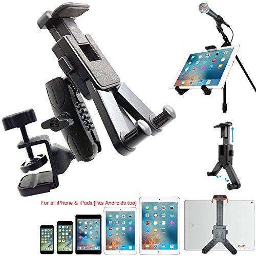 Dual Joint Rotate Adjust Pole/Bar Metal C-Clamp Podium Orchestra Music Mic Microphone Stand Mount For Tablet Apple Ipad Air Mini Samsung Galaxy Tab E S A Surface &Amp; Iphone Xr Xs Max 11 X 8 Smartphone