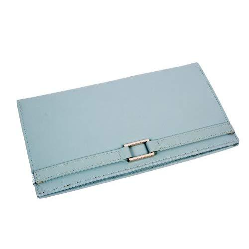 Leather Travel Wallet- Pale Blue