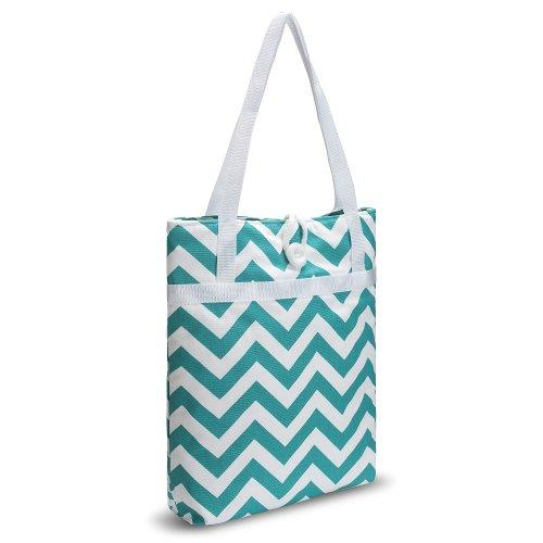 Kuzy - Tote Bag Travel Bag Cotton Handmade 16-Inch For Beach, Pool &Amp; School And To Carry Macbook &Amp; Laptop, Book Bags - Chevron Zig-Zag Teal