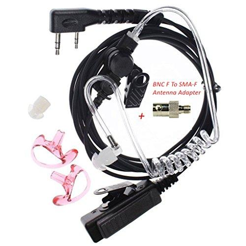3' 2-Wire Coil Earbud Audio Mic Surveillance Kit Compatible For Aofeng Bf-F8Hp Uv-82 Uv-5R Uv-5R5 Uv-5Ra Uv-5Re Tyt Wouxun Kenwood Acoustic Tube Headset, Noise Reductiontwo-Way Radio+Antenna Adapter