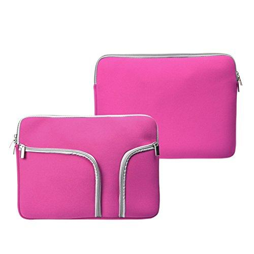 """Topcase Zipper Sleeve Bag Cover Case For All Laptop 13"""" 13 Inch Macbook Pro/Macbook Unibody/Macbook Air With Topcase Logo Mouse Pad (Hot Pink W/Pockets)"""