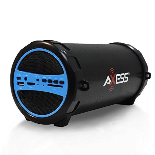 "Axess Spbt1031Bl Portable Bluetooth Indoor/Outdoor 2.1 Hi-Fi Cylinder Loud Speaker With Built-In 3"" Sub And Sd Card, Usb, Aux Inputs In Blue"