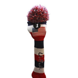 Usa Majek Golf Driver #1 American Flag U.S.A Patriot Pom Pom Knit Limited Edition Vintage Classic Usa Stars Us Red White Blue Retro Headcover Head Cover Fits 460Cc Drivers Perfect Dad