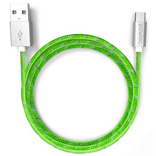 Pawtec Premium Usb 2.0 A Male To Micro B Usb Charger With Sync 480-Mbps, 3.3 Feet/1 Meter Nylon Braided Charger Cable (Lime Green)