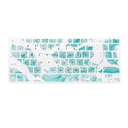 Case Star Feather Series Silicone Keyboard Cover Skin For Macbook 13-Inch Unibody/Macbook Pro 13, 15, 17-Inch And Apple Wireless Keyboard (White With Aqua Blue Feather)