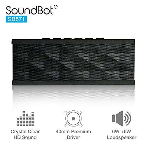 Soundbot Sb571 Bluetooth Wireless Speaker For 12 Hrs Music Streaming &Amp; Hands-Free Calling W/ 6W + 6W 40Mm Driver Speakerphone, Built-In Mic, 3.5Mm Audio Port, Rechargeable Battery For Indoor &Amp; Outdoor Use