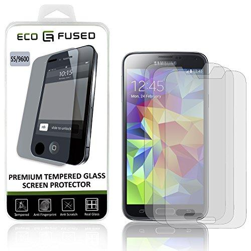 Eco-Fused Premium Tempered Glass Screen Protector Compatible With Samsung Galaxy S5 - 3 Glass Screen Protectors With Oleophobic Coating - Anti Fingerprint And Anti Scratch - Perfect Clarity And Touch