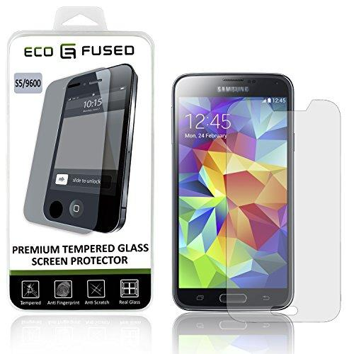 Eco-Fused Premium Tempered Glass Screen Protector Compatible With Samsung Galaxy S5 - Glass Screen Protectors With Oleophobic Coating - Anti Fingerprint And Anti Scratch - Perfect Clarity And Touch