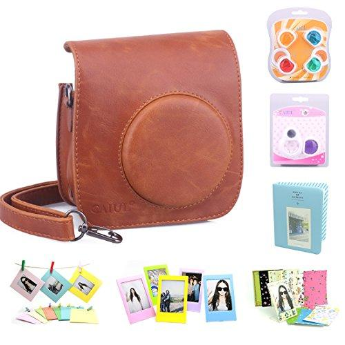 Caiul Compatible Mini 25 Camera Case Bundle With Album, Filters & Other Accessories For Fujifilm Instax Mini 25 26 (Brown, 7 Items)