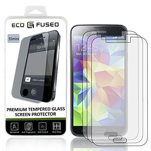 Eco-Fused Premium Tempered Glass Screen Protector Compatible With Samsung Galaxy S5 Mini - 3 Glass Screen Protectors With Oleophobic Coating - Anti Fingerprint And Anti Scratch