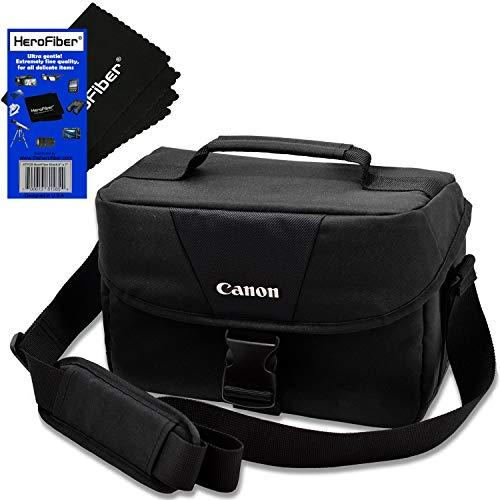 Canon Well Padded Compact Multi Compartment Gadget Bag For Eos 7D/7D Mark Ii, 70D, 77D, 80D, Rebel T2I, T3, T4I, T5, T5I, T6, T6I, T6S, T7, T7I, Sl1, Sl2 &Amp; Sl3 Dslr Cameras + Herofiber Cleaning Cloth